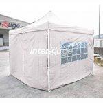 INTEROUGE Bâches latérales 4 côtés pour tente tonnelle pliante ECON; toile en polyester 180g/m²; 3 x 3 m; Blanc de la marque Interouge TOP 2 image 0 produit