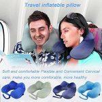 Oreiller de voyage, MORECOO Oreiller à col gonflable Ensemble de voyage portable Oreiller à l'air en forme de U avec bouchons d'oreille, masque pour les TOP 8 image 0 produit