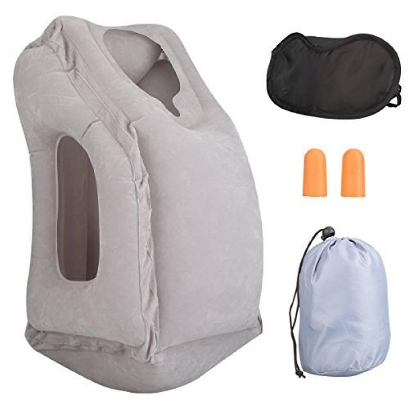 Oreiller Gonflable de Voyage, Coussin Voyage, inclut un masque de sommeil, un sac de transport et des bouchons d'oreille, pour Dormir en Voiture, TGV, Métro TOP 3 image 0 produit