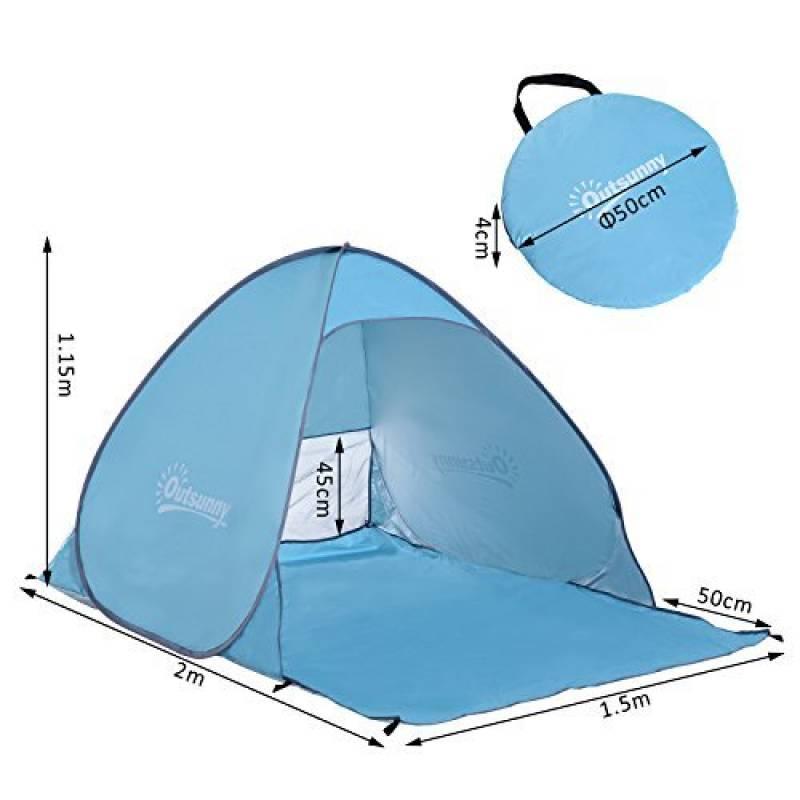 Outsunny Tente Abri de Plage Portable Hydrofuge Anti-UV avec Sac de Transport 2 x 1.5 x 1.15m Bleu de la marque Outsunny TOP 10 image 0 produit
