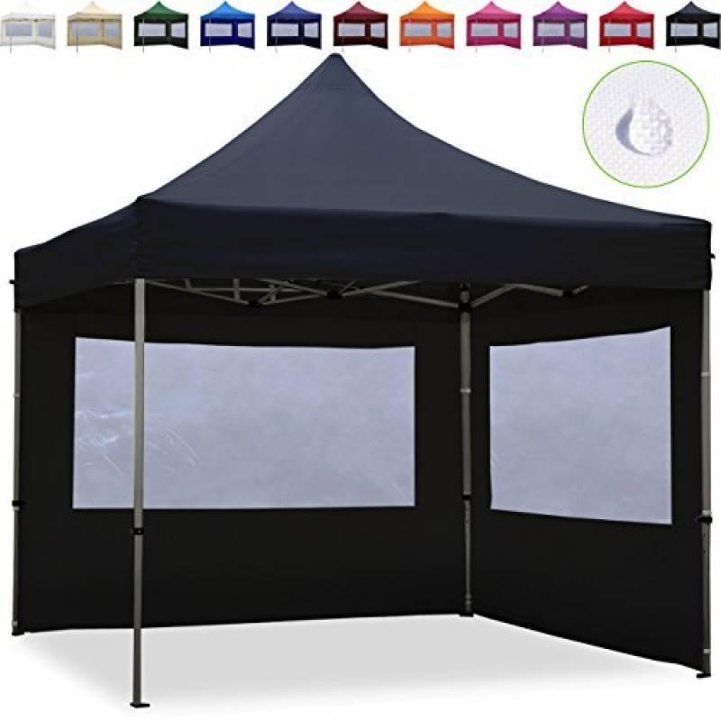 Tente Pliante 3x3m - 2 côtés Aluminium PREMIUM LITE 280 g/m² noir + Bâches Côté + Housse / Barnum Chapiteau Pliant Tonnelle Stand Paddock Réception Abri de la m TOP 5 image 0 produit