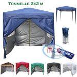 Mcc@home Gazébo/kioske/pavillon/tente/tonnelle/auvent/abri de jardin pliable résistant à l'eau, 2x2m, couleur bleue avec couche protectrice argentée de la marqu TOP 1 image 0 produit