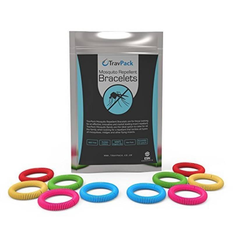 travpack® Premium Bracelets anti-moustiques (x10)–Garder les moustiques à Now. marché Leader anti-insectes, scientifiquement conçu avec 250heures utilisation TOP 2 image 0 produit