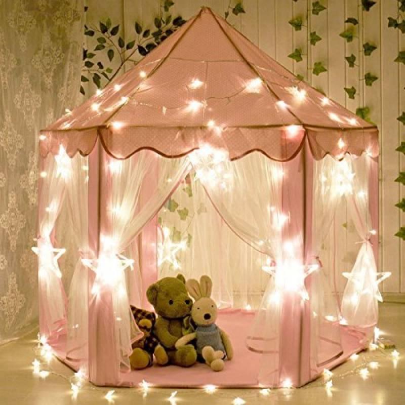 aPerfectLife Tente de jeu pour enfants Château de Princesse Tente de jeu Maison de Jouet Château de Princesse de fées avec LED Star Light(Rose) de la marque aPe TOP 4 image 0 produit