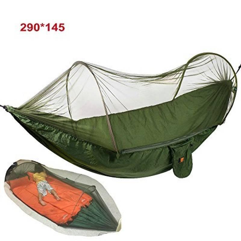Camping Hamac,Portable Ultra Léger Tente Suspendue avec Moustiquaire en Tissu Carabiners Les Bretelles pour Jungle/ Voyage/ en Plein Air/ Jardin/ Randonnée (1 p TOP 8 image 0 produit