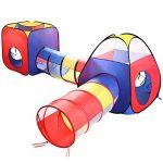 Tente Tunnel Enfant, Eocusun Pliant Tente Maison Aire de Jeux Pop-up Exterieur avec Tente Boule Pit et Panier + Sac de Rangement à Glissière, 4en 1 multicolore TOP 9 image 0 produit