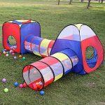 Tente Tunnel Enfant, Eocusun Pliant Tente Maison Aire de Jeux Pop-up Exterieur avec Tente Boule Pit et Panier + Sac de Rangement à Glissière, 4en 1 multicolore TOP 9 image 2 produit