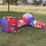 Tente Tunnel Enfant, Eocusun Pliant Tente Maison Aire de Jeux Pop-up Exterieur avec Tente Boule Pit et Panier + Sac de Rangement à Glissière, 4en 1 multicolore TOP 9 image 3 produit