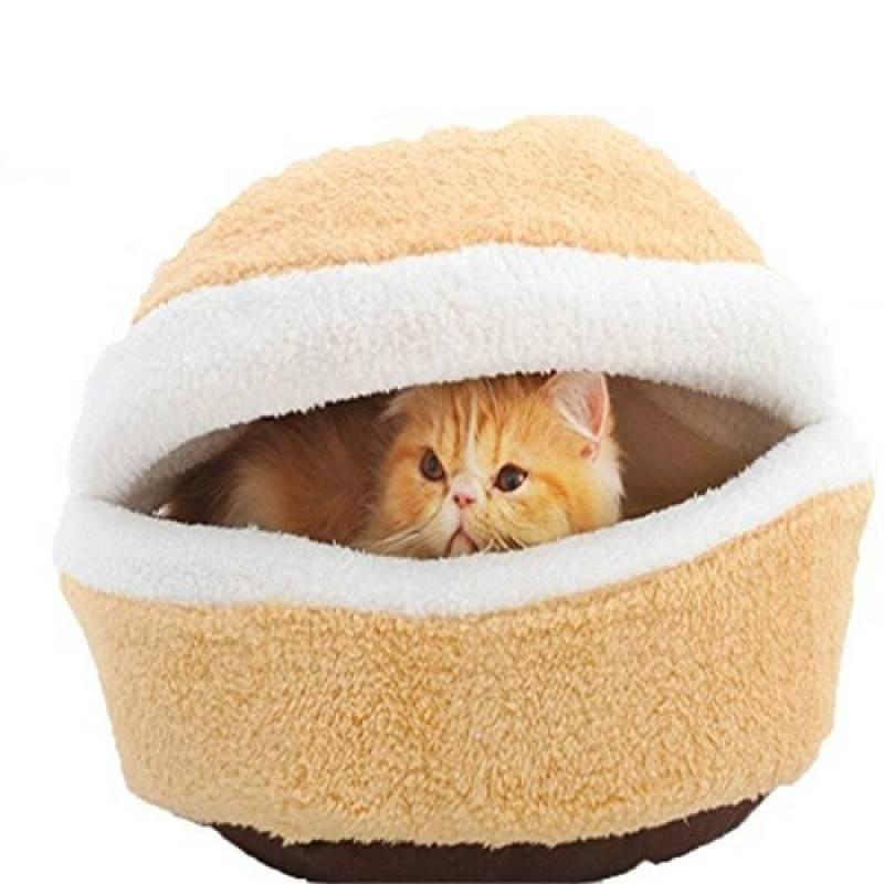 Lit pour chat Grotte, intérieur ou extérieur coupe-vent imperméable amovible pour chien chat lit maison pour chat chat Burger Tentes Lit pour chat Couleur Crème TOP 6 image 0 produit