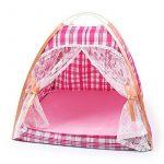 Portable Pet Tente - BADALINK Dentelle Respirant Pliable Anti-moustique Tente pour Chien Chat Chiot à L'extérieur 36*11*32cm Carreaux Rose Clair de la marqu TOP 2 image 0 produit