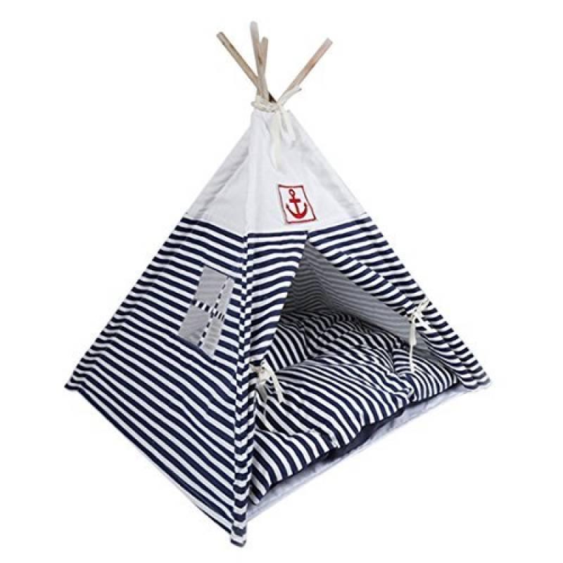 Qianle Pet Maison Tente de Chat Pliable Pet Dôme Lit pour Chat Minou en Rayure Bleu de la marque Qianle TOP 5 image 0 produit